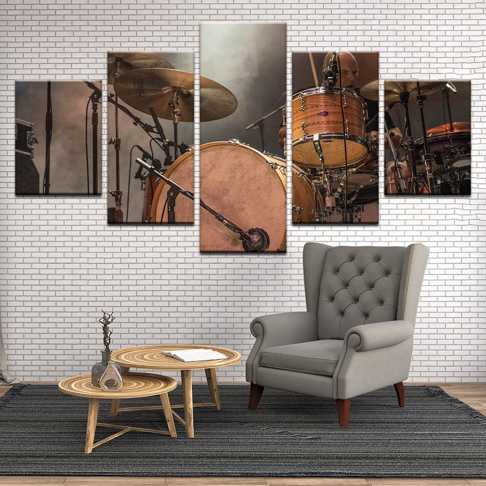 Drum Set On Smoky Stage 5 Panel Canvas Print Wall Art
