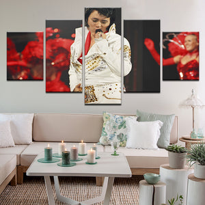 Elvis Presley 5 Panel Canvas Print Wall Art