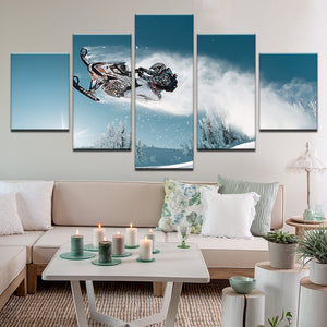 Snowmobile Skidoo Sled Winter 5 Panel Canvas Print Wall Art