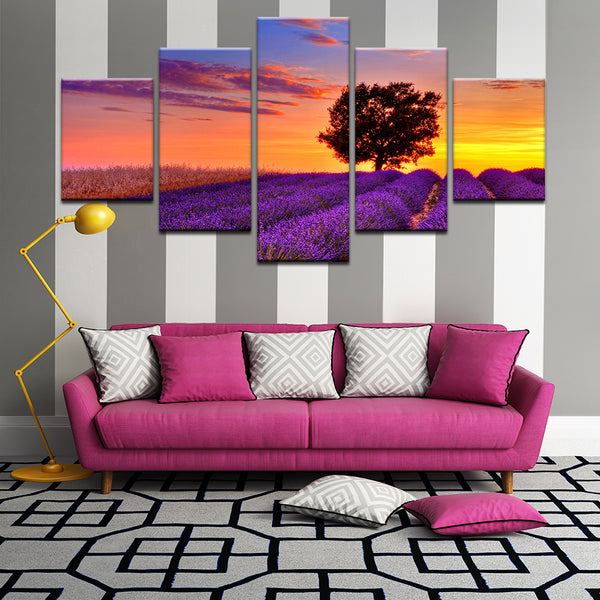 Sunset Over Lavender Field 5 Panel Canvas Print Wall Art