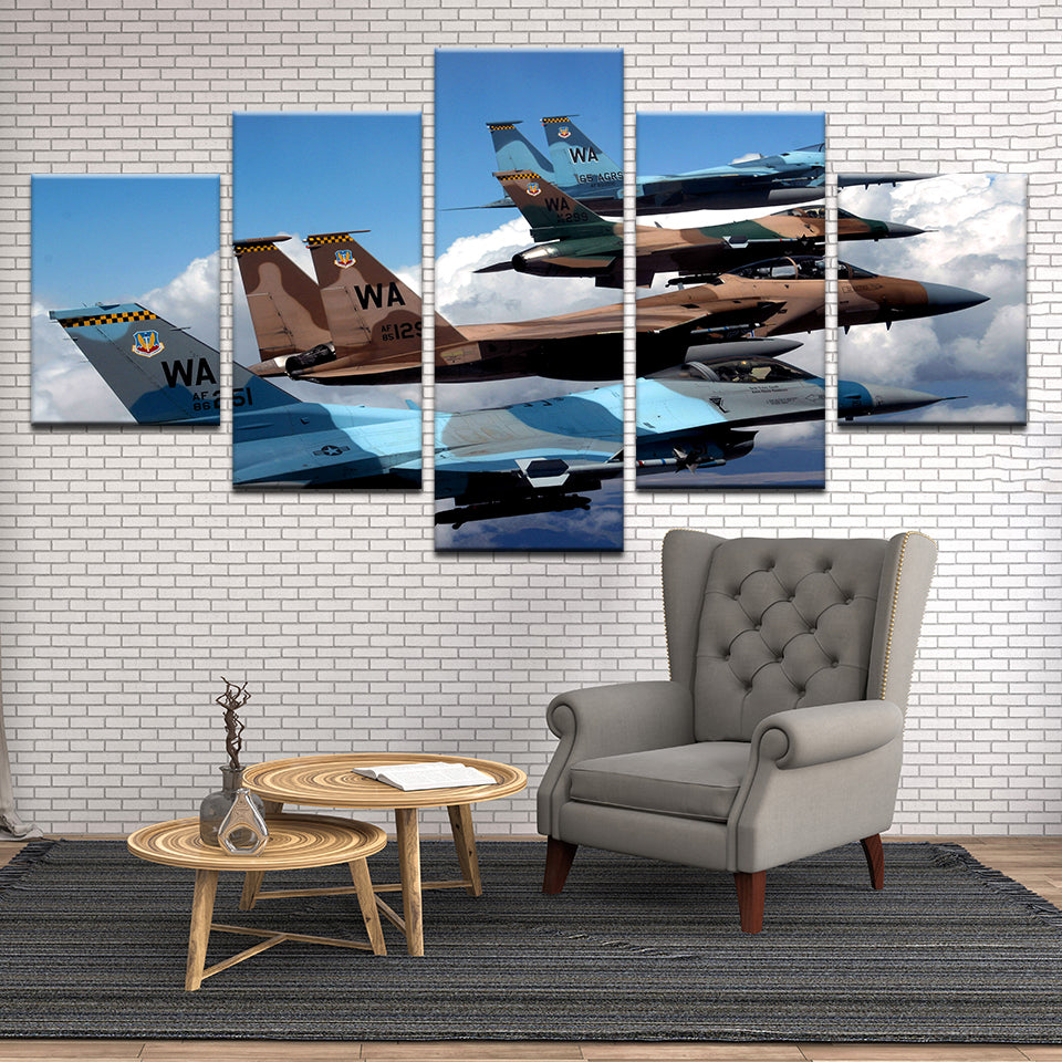 F-15s In Formation 5 Panel Canvas Print Wall Art
