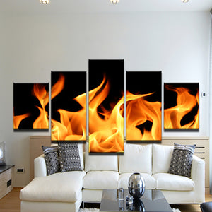 Yellow And Black Flames 5 Panel Canvas Print Wall Art