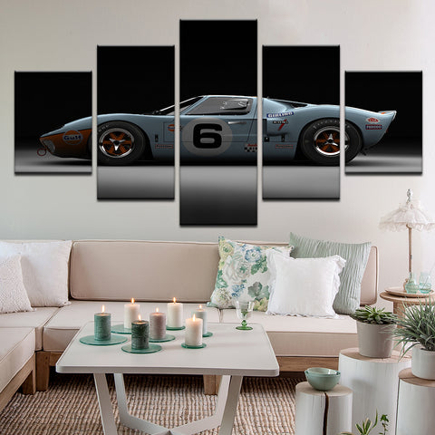 Ford GT40 5 Panel Canvas Print Wall Art