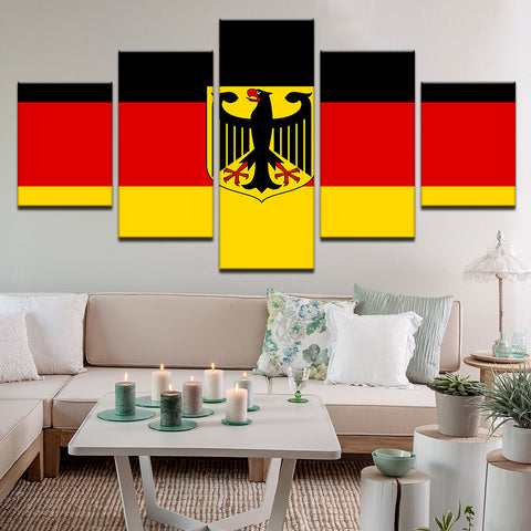 Germany German Deutschland Bunddesschild Flag 5 Panel Canvas Print Wall Art