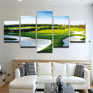 Golf Course Overhead 5 Panel Canvas Print Wall Art