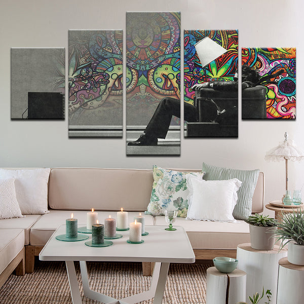 Blown Away Guy Graffiti Abstract 5 Panel Canvas Print Wall Art