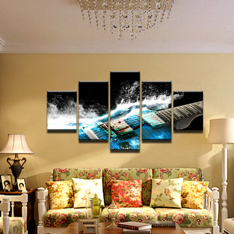 Electric Guitar Water Splash 5 Panel Canvas Print Wall Art
