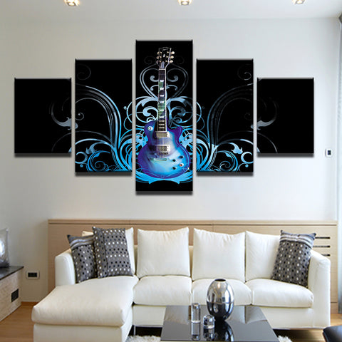 Blue Electric Guitar 5 Panel Canvas Print Wall Art