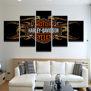 Harley Davidson 5 Panel Canvas Print Wall Art
