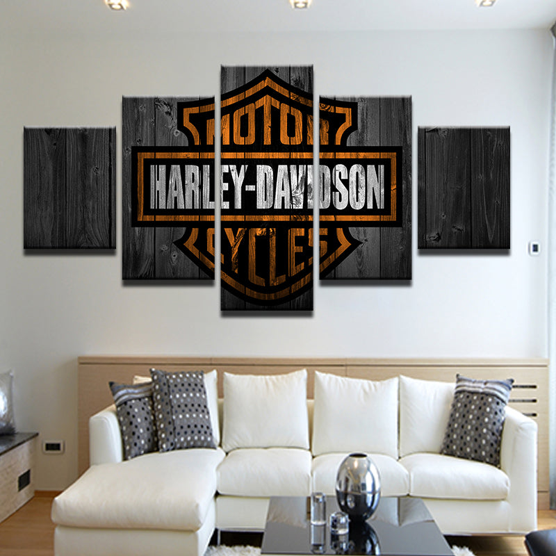 "Harley Davidson ""Weathered Barn Wood"" Style 5 Panel Canvas Print Wall Art"