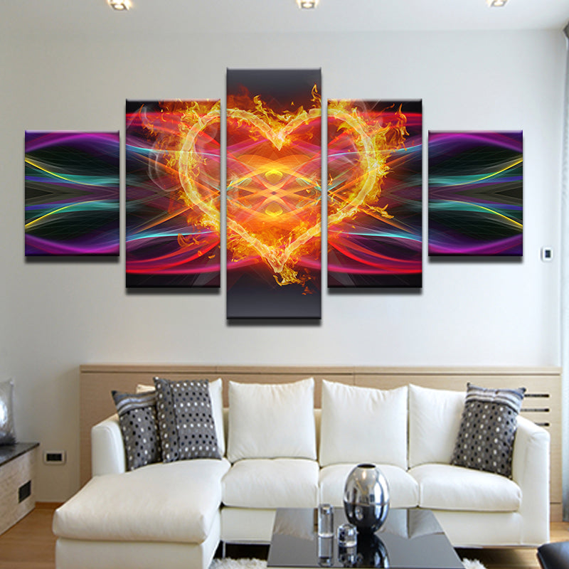 Electric Heart On Fire 5 Panel Canvas Print Wall Art