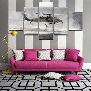 Sikorsky MH-60S Seahawk US Navy Rescue Swimmer 5 Panel Canvas Print Wall Art