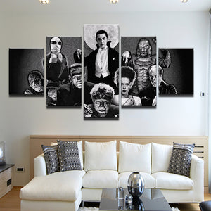 Universal Classic Monsters 5 Panel Canvas Print Wall Art