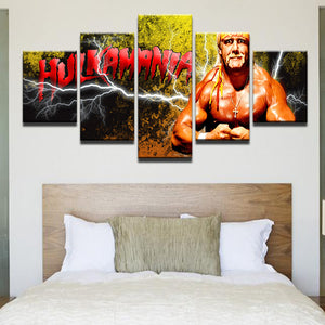 Hulk Hogan Hulkamania WWF WWE 5 Panel Canvas Print Wall Art