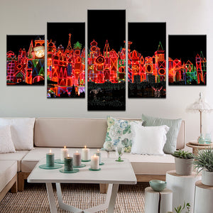 Disneyland It's A Small World 5 Panel Canvas Print Wall Art