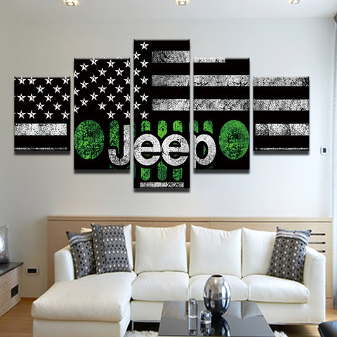 Jeep American Flag 5 Panel Canvas Print Wall Art