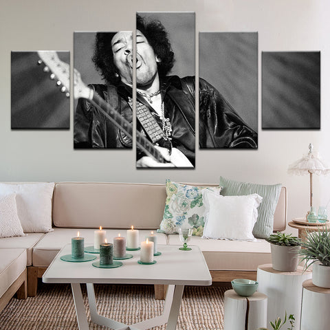 Jimi Hendrix 5 Panel Canvas Print Wall Art