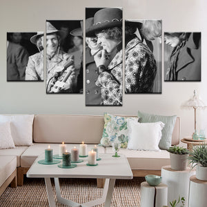 Jimi Hendrix And Rick Griffin 5 Panel Canvas Print Wall Art