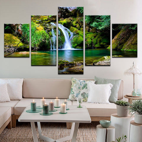 Jungle Waterfall Swimming Hole 5 Panel Canvas Print Wall Art