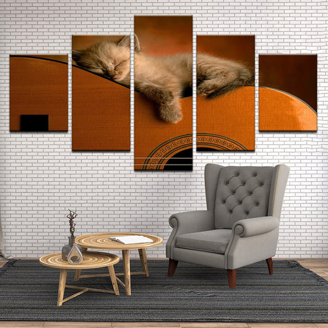 Kitten On Guitar 5 Panel Canvas Print Wall Art