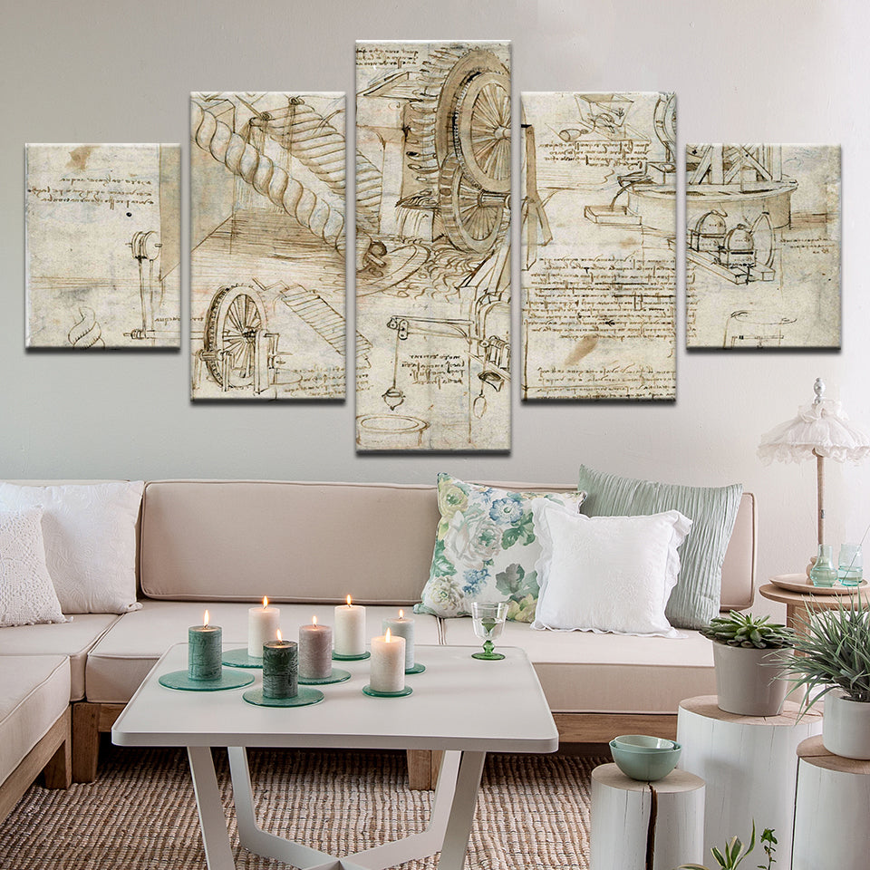 Leonardo Davinci Water Lifting Device Plans 5 Panel Canvas Print Wall Art