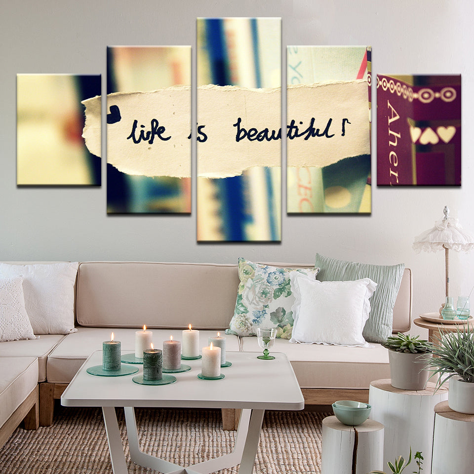 Life Is Beautiful Motivational Inspirational Quote 5 Panel Canvas Print Wall Art