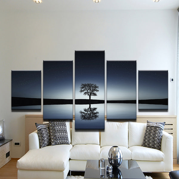 Lone Tree Reflecting In Lake At Twilight 5 Panel Canvas Print Wall Art
