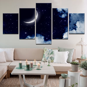 Waxing Crescent Moon 5 Panel Canvas Print Wall Art