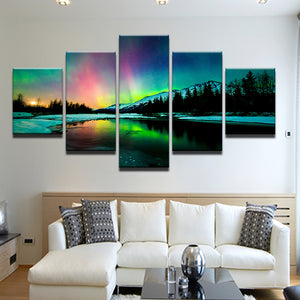Rainbow Colored Aurora Borealis Northern Lights 5 Panel Canvas Print Wall Art