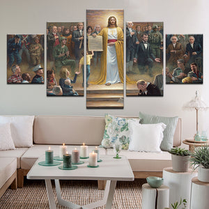 Pledge Of Allegiance One Nation Under God 5 Panel Canvas Print Wall Art