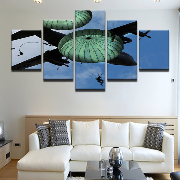 Paratroopers 5 Panel Canvas Print Wall Art