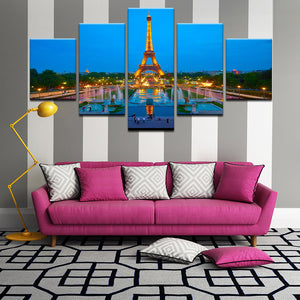 Eiffel Tower Paris France 5 Panel Canvas Print Wall Art