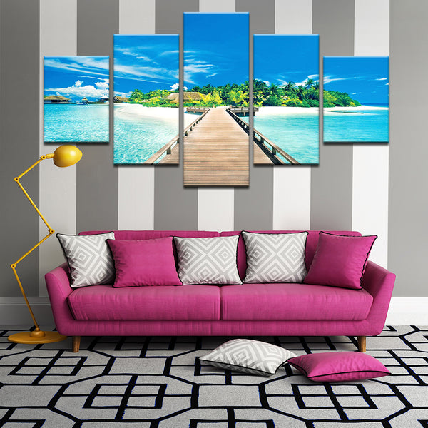 Pier On Beach Bora Bora 5 Panel Canvas Print Wall Art