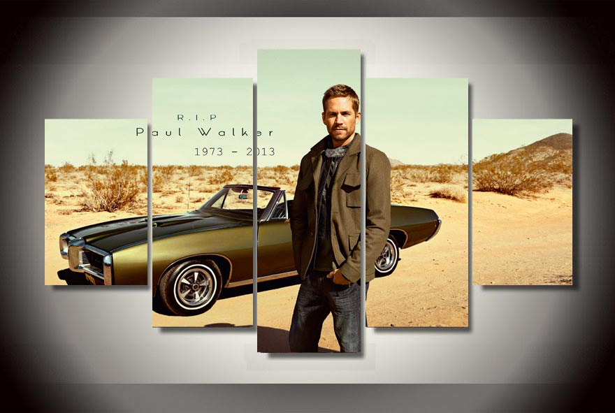 Paul Walker Memorial Tribute Fast & Furious 5 Panel Canvas Print Wall Art
