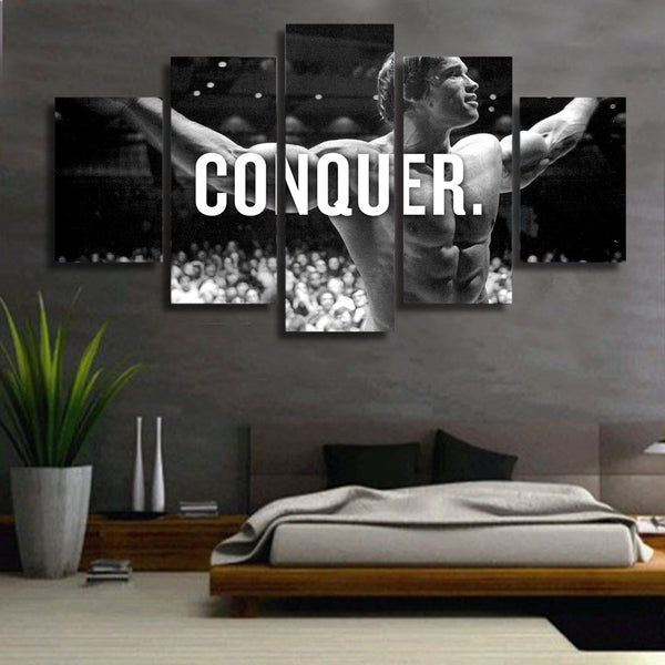 Arnold Schwarzenegger Conquer 5 Panel Canvas Print Wall Art Canvas Print Got It Here