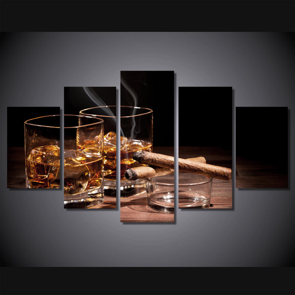 Whiskey And Cigars 5 Panel Canvas Print Wall Art Canvas Print Got It Here