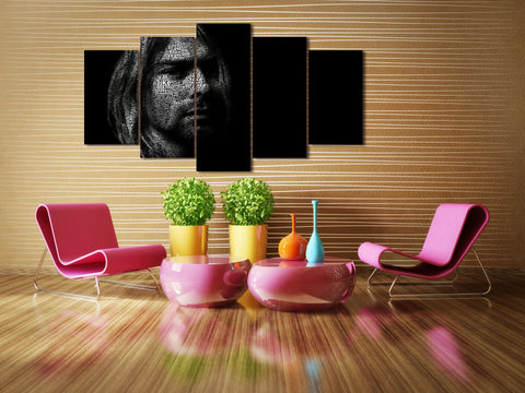 Kurt Cobain Abstract 5 Panel Canvas Print Wall Art