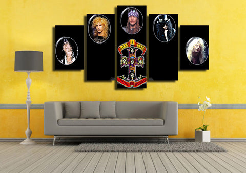 Guns N Roses 5 Panel Canvas Print Wall Art