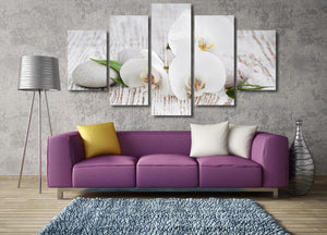 White Orchid 5 Panel Canvas Print Wall Art