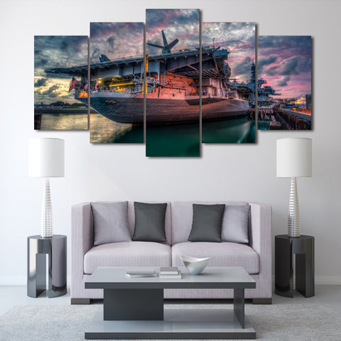 USS Midway Aircraft Carrier 5 Panel Canvas Print Wall Art