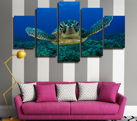 Hawksbill Sea Turtle 5 Panel Canvas Print Wall Art Canvas Print Got It Here