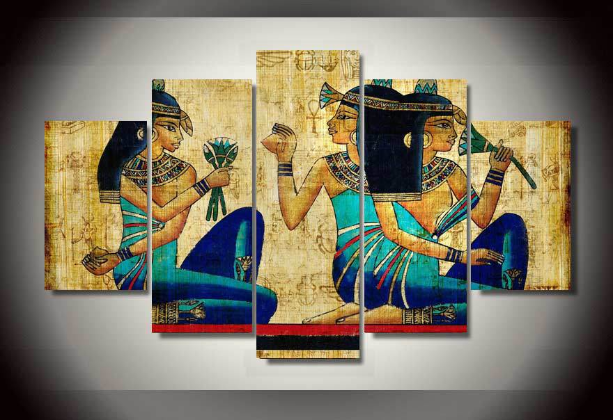 Egyptian Papyrus Painting Cleopatra Nefertiti 5 Panel Canvas Print Wall Art Canvas Print Got It Here