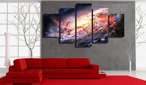 Galaxy Stars In Deep Space 5 Panel Canvas Print Wall Art Canvas Print Got It Here