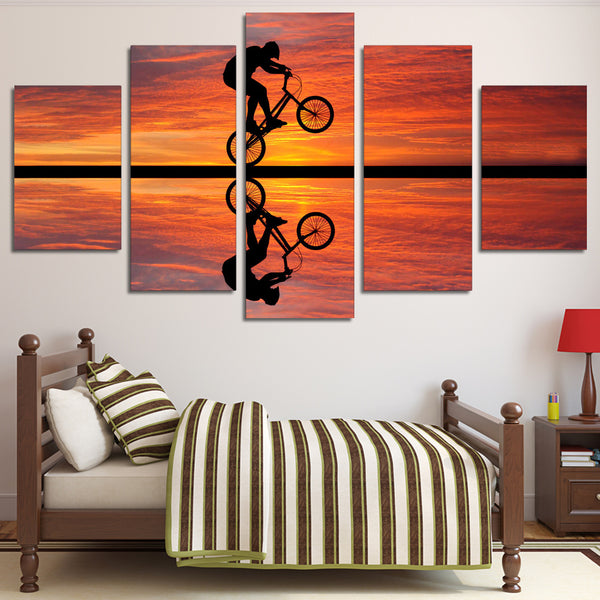 BMX At Sunset 5 Panel Canvas Print Wall Art Canvas Print Got It Here