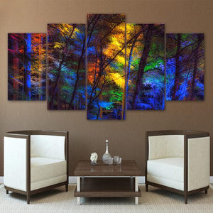 Rainbow Forest 5 Panel Canvas Print Wall Art