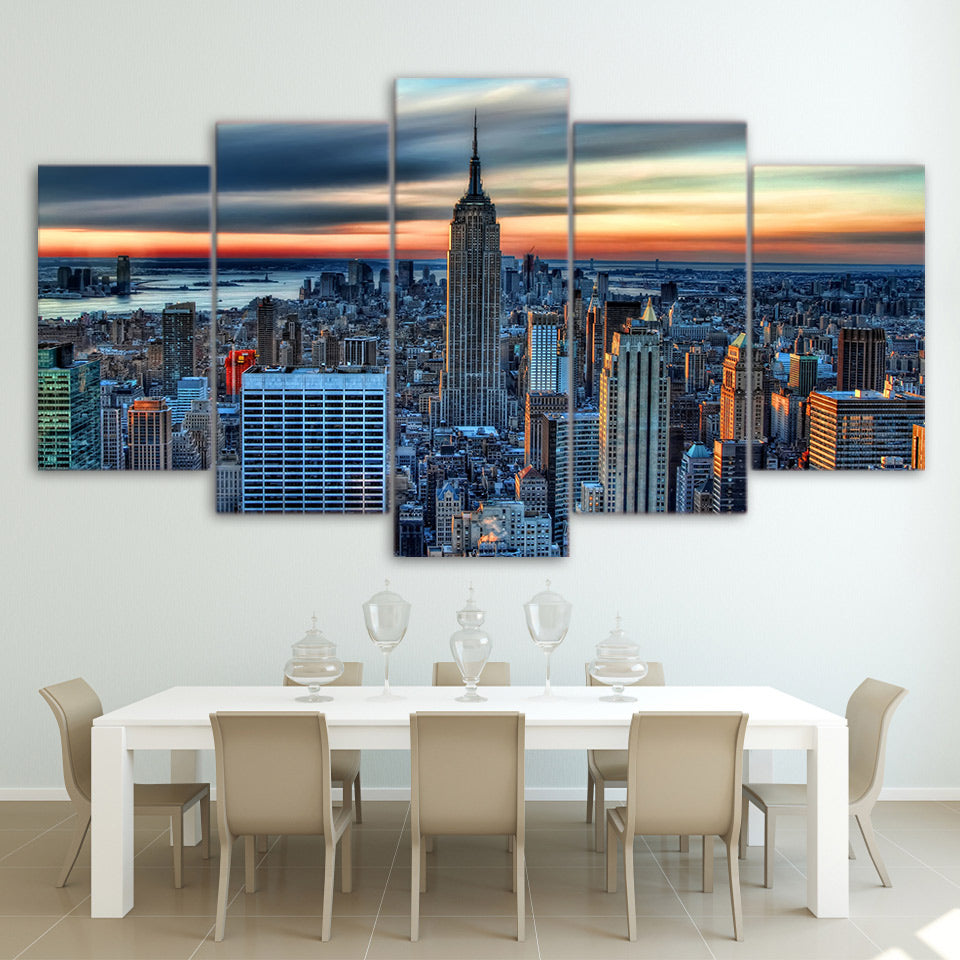 New York Skyline 5 Panel Canvas Print Wall Art