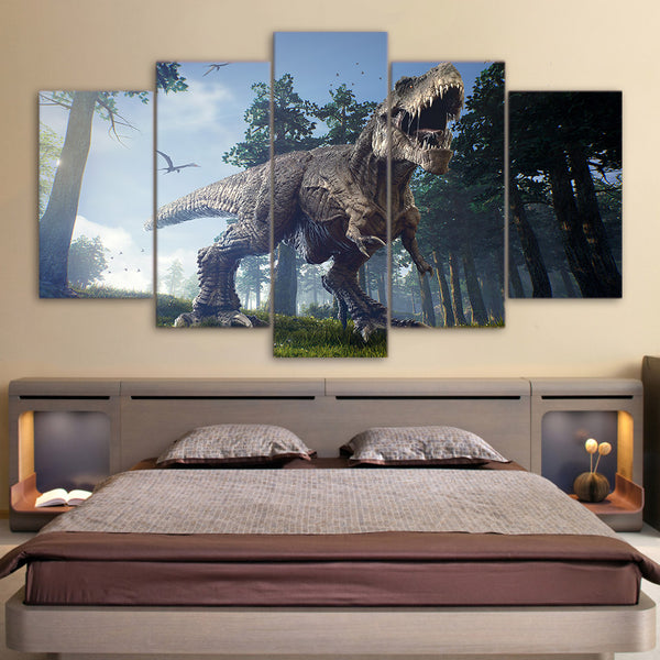 T-Rex Tyrannosaurus Rex In The Forest 5 Panel Canvas Print Wall Art
