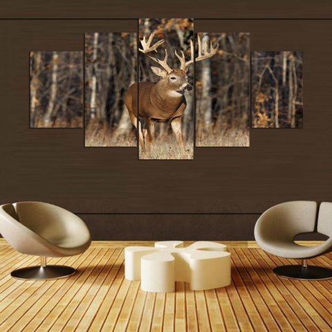 Deer In Autumn 5 Panel Canvas Print Wall Art