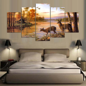 Deer On Autumn Lake Painting 5 Panel Canvas Print Wall Art