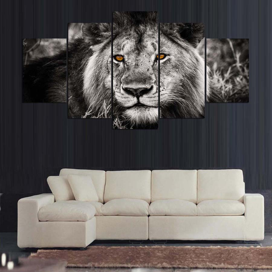 Black And White Lion 5 Panel Canvas Print Wall Art